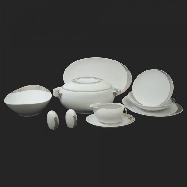 Porcelánová obedová súprava pre 6 osôb Looplat platinový pruh