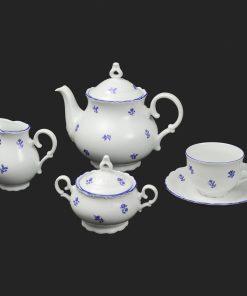 Čajová súprava pre 6 osôb Ophelis modrý kvet