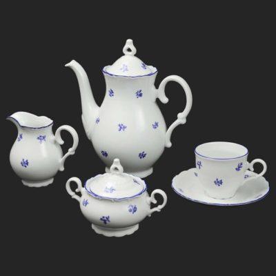 Kávová súprava pre 6 osôb Ophelis modrý kvet