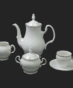 Kávová súprava pre 6 osôb Berna damašek platinový pruh