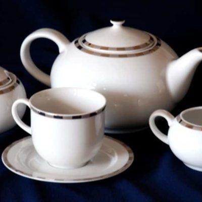 Čajová súprava pre 6 osôb Opalnea platinový lem