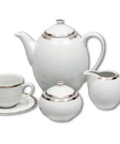 Kávová súprava pre 6 osôb Opalnea platinový lem