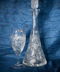 Set krištáľová brúsená karafa wine 1 + 6 pohárov