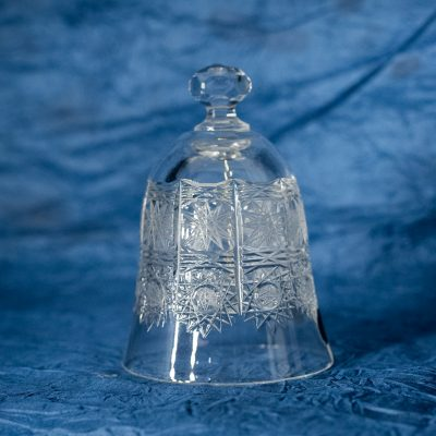 Krištálový brúsený dekoratívny zvonček 14 cm
