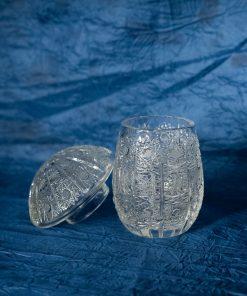 Krištálová brúsená dóza 11 cm s viečkom