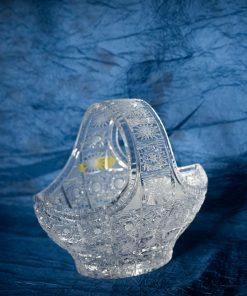 Krištálový brúsený dekoratívny košík 20 cm