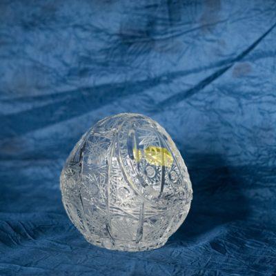 Krištálový brúsený dekoratívny košík 10 cm