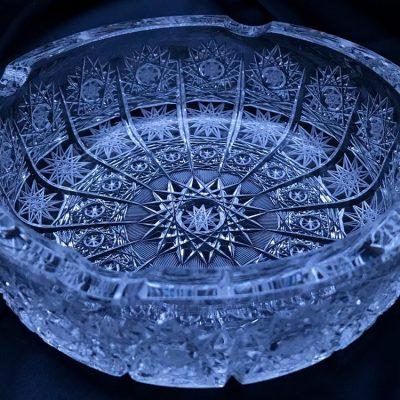 Krištálový brúsený popolník 15,3 cm