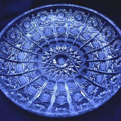 Krištálový brúsený tanier 18 cm