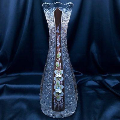 Krištáľová brúsená váza 28 cm ručná maľba