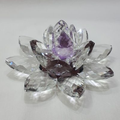 Krištálový brúsený lotosový kvet fialový 11 cm