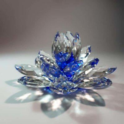 Krištálový brúsený lotosový kvet modrý 11 cm