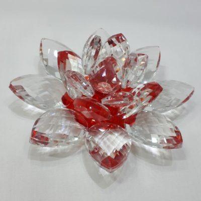 Krištálový brúsený lotosový kvet červený 11 cm