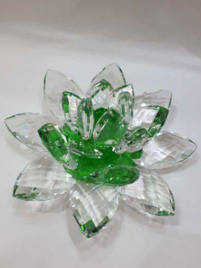 Krištálový brúsený lotosový kvet zelený 30 cm 2,5 kg
