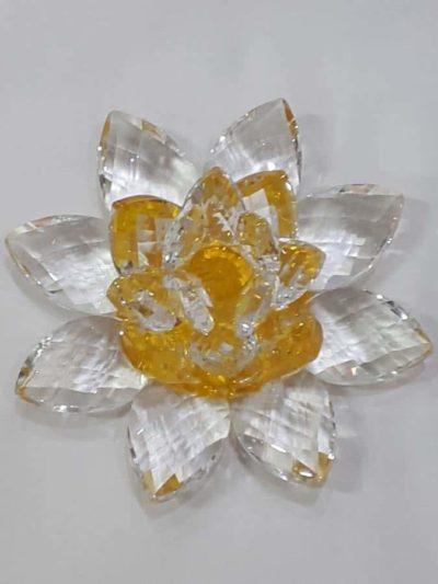 Krištálový brúsený lotosový kvet žltý 11 cm