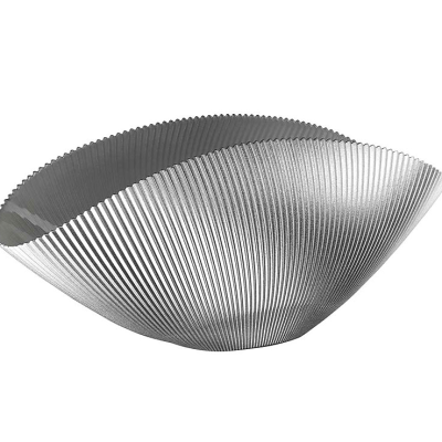 Misa BURA perleťovo sivá s ryhovaním L42 cm
