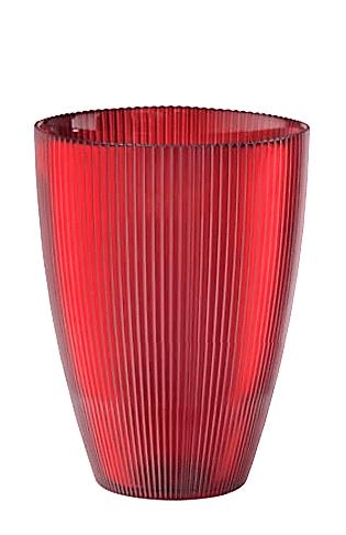 Váza BURA červená s ryhovaním H24 cm