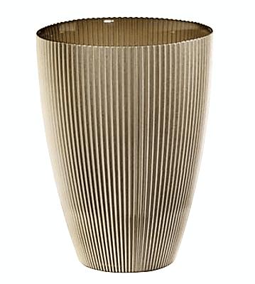 Váza BURA béžová s ryhovaním H24 cm