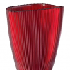 Váza BURA červená oválna s ryhovaním H24