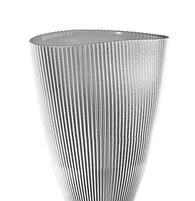 Váza BURA perleťovo sivá oválna s ryhovaním H24 cm