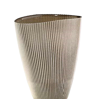Váza BURA béžová oválna s ryhovaním H24 cm